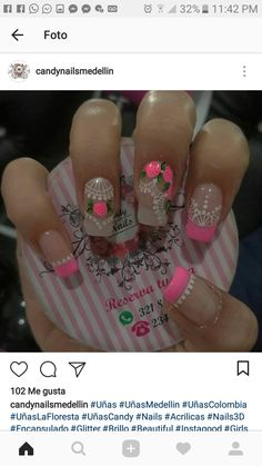 Spring Nail Art, Spring Nails, Margarita, Rose, Floral, Glitter, Nice Nails, Nail Arts, Nail Bling