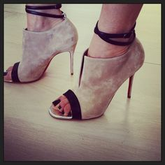 LOVE! such cool suede peep hole sandals!