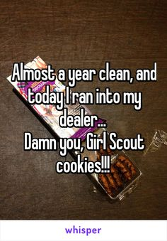 Almost a year clean, and today I ran into my dealer. Damn you, Girl Scout cookies! Girl Scout Cookie Meme, Girl Scout Cookie Sales, Girl Scout Cookies Flavors, Gs Cookies, Sales Girl, Girl Scout Juniors, Whisper Confessions, Crazy Mom, Brownie Girl Scouts