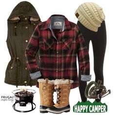 Frugal Fashion Friday Happy Camper Camping Outfit of the Day on Frugal Fashion Friday. Polyvore Outfit.