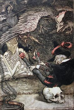 Arthur Rackham - The Ingoldsby Legends of Mirth and Marvels Second Edition 1905 - The little man had seated himself in the centre of the circle upon the large skull [24]