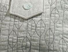 Janome - Sashiko Purse. Leaf/vine sashiko pattern.