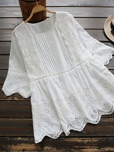 Amourlymei White Hollow Lace Embroidery O-Neck Half Sleeve Cotton Shirt Mori Girl 2017 Summer Women Blouse Lolita Princess Tops Half Sleeve Shirts, Embroidered Shorts, Short Tops, Indian Designer Wear, White Shirts, Vintage Shirts, Chic Outfits, Fashion Dresses, Fashion Hair