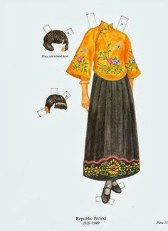 Bonecas de Papel: Trajes Chineses* 1500 free paper dolls for small Christmas gits and DIY for Pinterest pals The International Paper Doll Society Arielle Gabriel artist ArtrA Linked In QuanYin5 *