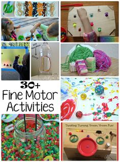 30+ Activities for Development of Fine Motor Skills! Lots of great toddler and preschool learning activities!