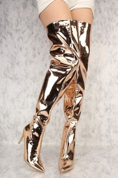 Rose Gold Chrome Flared Pointy Toe Thigh High Heel Boots Patent
