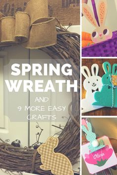 Spring into spring with 10 easy and cheap DIY crafts with supplies from the Target Dollar Spot including adorable bunnies, carrots and a rustic wreath. See more on www.FrugalFloridaMom.com.