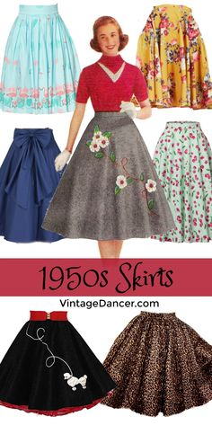 Pin this! 1950s Skirts, swing skirts, circle skirts, poodle skirts for sale. VintageDancer.com/1950s