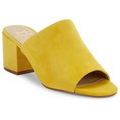 Marc Fisher Ltd Rain Suede Mules (160 AUD) ❤ liked on Polyvore featuring shoes, yellow, block heel shoes, open toe mules shoes, slip-on shoes, mule shoes and open-toe mules