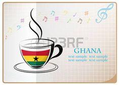 logotipo de café hecho de la bandera de Ghana...