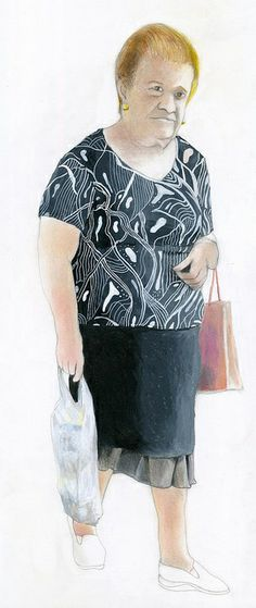 woman with a black shirt with white designs