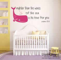 A sweet religious quote to add to your nautical decor nursery. Baby whale nursery decor nursery wall decal girls room wall