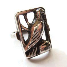 Vintage 830 silver bird ring, Danish silver openwork ring, eagle, hawk, raptor or dove, Scandinavian silver ring, Art Deco 1930s, https://www.etsy.com/listing/219102327/vintage-830-silver-bird-ring-danish