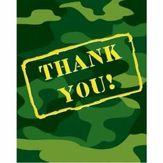 Camouflage Thank You Cards 8 Per Pack by Creative Converting. $3.89. Creative Converting is a leading manufacturer and distributor of disposable tableware including high-fashion paper napkins plates cups and tablecovers in a variety of solid colors and designs appropriate for virtually any event