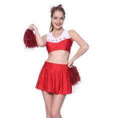 Amazon.com  High School Girl Cheerleader Costume Crop Top + Pleated Skirt +  Panty + Pom Poms  Clothing 24ce992573f