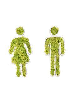 """Toiletmannetje/vrouwtje - Grappige """"groen""""verwijzing naar toilet!"""