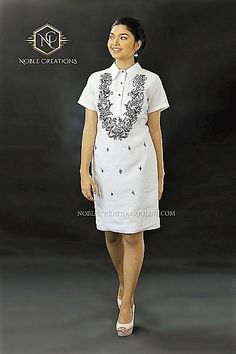 Barong Tagalog for her. African Fashion Dresses, African Dress, Barong Tagalog For Women, Modern Filipiniana Dress, Little White Dresses, Office Attire, Streetwear, Ethnic, Short Sleeve Dresses