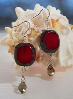 Earring  Eyecatching painted glass squares marbled by maryzank, $18.00