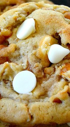These widely popular White Chocolate Caramel Pretzel Cookies are a hit in my house.