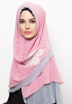 Sabila Sar'I by Aira Muslim Butik. Hijab Sar'i made from lightweight material, it's soft and give a comfortable feel when used, combination of pink pastel and grey color and lace details give a feminine look.  http://www.zocko.com/z/JIqnd
