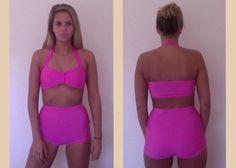 4cbacdef84 Vintage Bikini. High waisted bottoms. Retro Summer. two piece