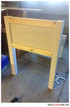 DIY twin bed with drawers. Diagram, photos, materials list and instructions for putting together the DIY twin bed. Bed Headboard Storage, Twin Headboard, Wood Headboard, Headboards For Beds, Bed Storage, Storage Drawers, Diy Drawers, Twin Bed With Drawers, Monkey Room