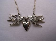 Sterling Silver Swallows and Heart Necklace by MetalCoutureJewelry, $200.00