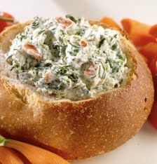 Cold Spinach Dip: 1 pkg Knorr Dry Vegetable Dip, 10 oz spinach, 16 oz sour cream, 1 c mayo, 8 oz can water chestnuts drained and chopped. Combine and chill. Serve with sourdough or pumperknickle bread chunks.