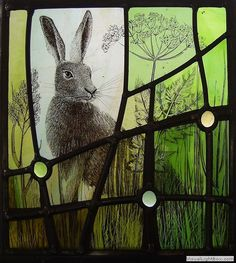 Isa's hare - Ann Sotheran Glass Artist This is stained glass! Stained Glass Paint, Stained Glass Panels, Leaded Glass, Mosaic Glass, Fused Glass, Blown Glass, Rabbit Art, Rabbit Totem, Art Of Glass