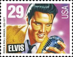 Elvis Presley  (Legends of American Music Series)   Artist: Mark Stutzman  Airbrush and acrylic on board  The U.S. Postal Service commissioned eight artists to develop designs for an Elvis stamp, about 60 sketches all together. The choice came down to two portraits: a youthful Elvis or a more mature Elvis.