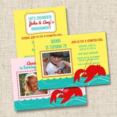 Southern Crawfish Boil Custom Boy or Girl Birthday Party Invitation or Engagement Party Invitation