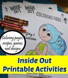 Inside Out Printable Activities Counselling Activities, Speech Therapy Activities, Inside Out Coloring Pages, Coloring Pages For Kids, Child Psychotherapy, Understanding Emotions, Family Game Night, Family Games, Play Therapy Techniques