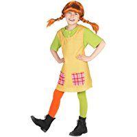 Pippi Langstrumpf Kostüm für Kinder - 3teilig - grün/gelb - Maskworld Lizenz Filmkostüm (122/128)