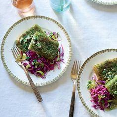 Wasabi Pea Tofu with Red Cabbage Leeks | CookingLight.com