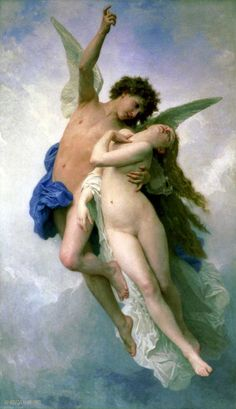 """Psyche et L'Amour"" in 1889 by William-Adolphe Bouguereau (La Rochelle 1825 - 1905). French academic painter. He was a traditionalist; in his realistic genre paintings he used mythological themes, making modern interpretations of Classical subjects, with an emphasis on the female human body. Venus (Aphrodite) jealous of the beauty of a girl named Psyche asks her son Cupid (Eros) to use his golden arrows while Psyche sleeps. Cupid scratch himself with his arrow and fall deeply in love with…"