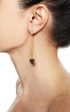 Brown Fossilized Dinosaur Bone And White Diamond Open Cage Earrings by MONIQUE PéAN for Preorder on Moda Operandi