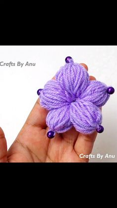 Hand Embroidery Flower Designs, Woolen Flower, Finger, Purple, Floral, Crafts, Manualidades, Fingers, Flowers