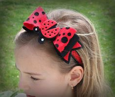 Handmade Felt Ladybug , Headband For Girl,  Hair Bow,  Parties, Special Occasions