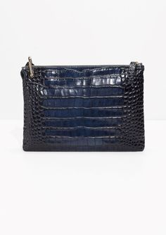 77f369e42e Other Stories image 1 of Leather Bag With D-Ring in Navy Croc Fall