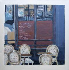 'Le Progres, Montmartre Paris 2012' acrylic on canvas, 50 x 50cms, Hiawyn Oram