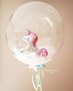 Cute idea for a themed party! Clear balloon filled with a tiny balloon unicorn. Clear Balloons, Bubble Balloons, Large Balloons, Giant Balloons, Custom Balloons, Helium Balloons, Stuffed Balloons, Balloon Arrangements, Balloon Centerpieces