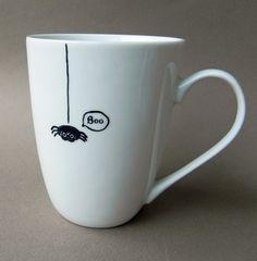 Little black spider cute hand painted mug - boo - kitchen decor. $27.00, via Etsy.