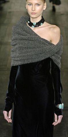 Ralph Lauren black velvet grey shawl turquoise bracelet cuff necklace gown dress