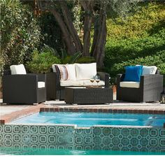 Vomo White/ Black 4-piece Outdoor Wicker Coversation - Overstock™ Shopping - Big Discounts on Sofas, Chairs & Sectionals