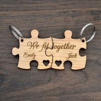 You Complete Me We Fit Together Personalised Valentines Love Jigsaw Keyring Set