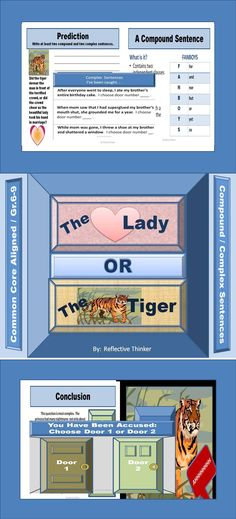"You have been accused of .... Pick Door 1 or Door 2. My students enjoy these ""The Lady or the Tiger"" activities. I use it to create interest when teaching compound/ complex sentences. The 32 PowerPoint Slides or printables include Common Core aligned reading, writing, language, and social studies activities. An extensive preview of the product is available. #Theladyorthetiger #compoundsentences #complexsentences #CCSwriting"