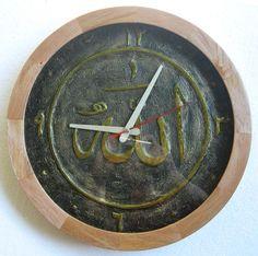 Jam dinding unik lis kayu diameter 31cm tulisan kaligrafi timbul warna emas