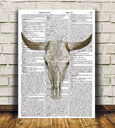 Amazing Bull skull poster. Gorgeous Anatomy print for your home and office. Adorable Dictionary print. Pretty contemporary Watercolor decor.