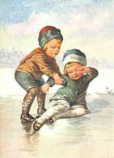 Delcampe – La plus grande marketplace pour les collectionneurs Old Christmas, Vintage Christmas, Skating Pictures, Frozen Pond, Ice Skaters, Winter's Tale, Christmas Paintings, Illustrations, Vintage Pictures