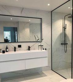 Modern Scandinavian Bathroom Interior In White - Interior Design Ideas & Home Decorating Inspiration - moercar Minimalist Bathroom Design, Modern Bathroom Design, Bathroom Interior Design, Bathroom Designs, Bath Design, Bathroom Ideas, Modern Bathrooms, Minimalist Design, Scandinavian Bathroom Design Ideas